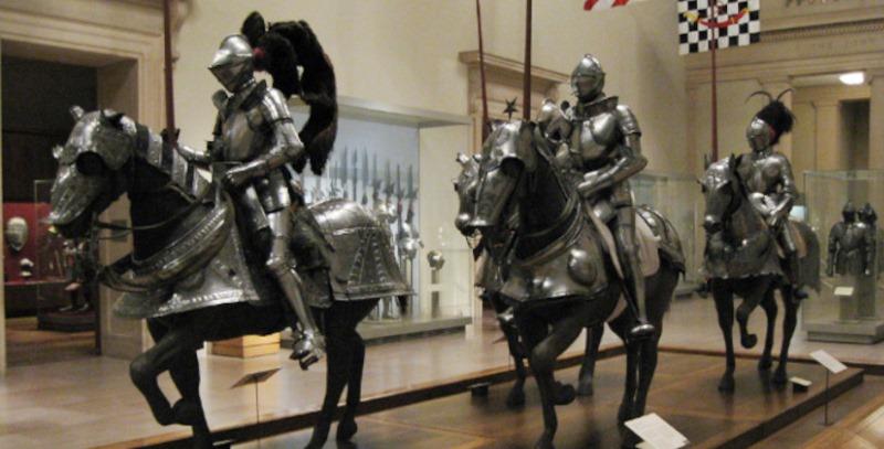 caballeros con armadura a caballo