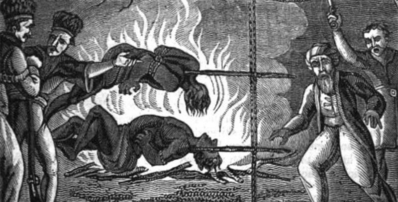 empalamiento prisionereos al fuego